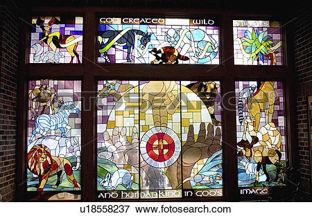 Picture of stain, creation, window, glass, church u18558237.