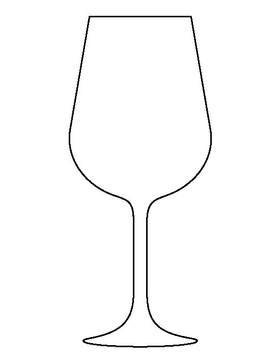 Wine glass pattern. Use the printable outline for crafts, creating.