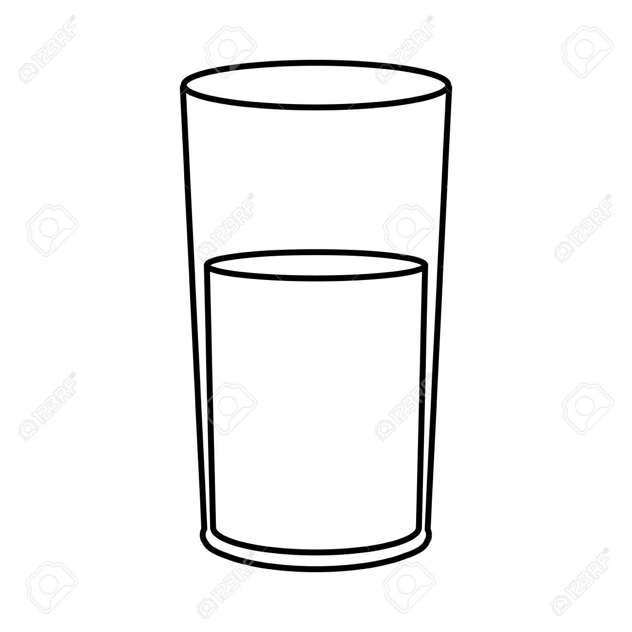 water glass cup fresh health line vector illustration.