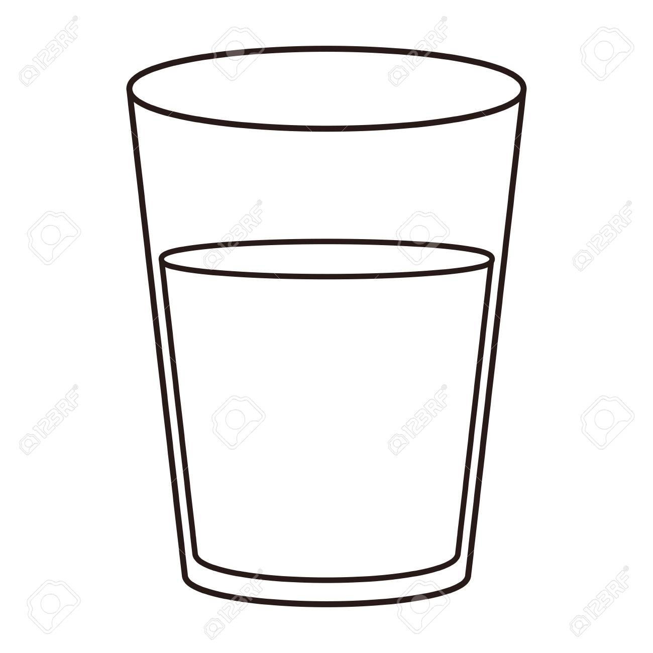Water glass cup in black and white vector illustration graphic...