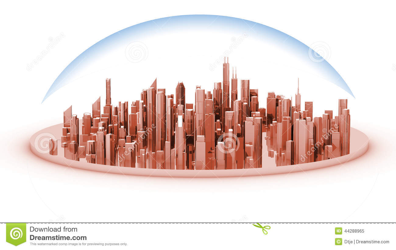 White Model Mockup Of A City With A Glass Dome Stock Illustration.