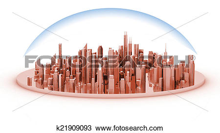 Drawing of White model mockup of a city with a glass dome.