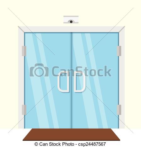 Clip Art Vector of Flat vector illustration of transparent glass.