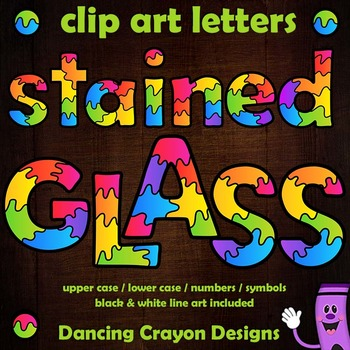 Alphabet Letters Clip Art with Stained Glass by Dancing Crayon.