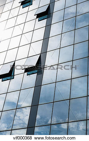 Pictures of Greece, Thessaloniki, Glass facade of office building.