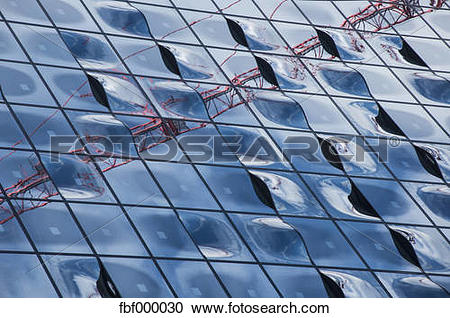 Stock Photography of Germany, Hamburg, Glass Facade of the Elbe.