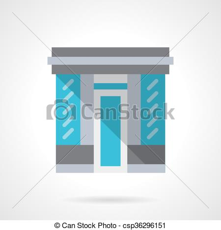Clipart Vector of Glass store facade flat color design vector icon.
