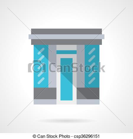 Clipart Vector of Glass store facade flat color design vector icon.