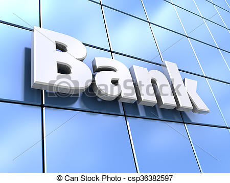 Stock Illustration of bank facade glass.