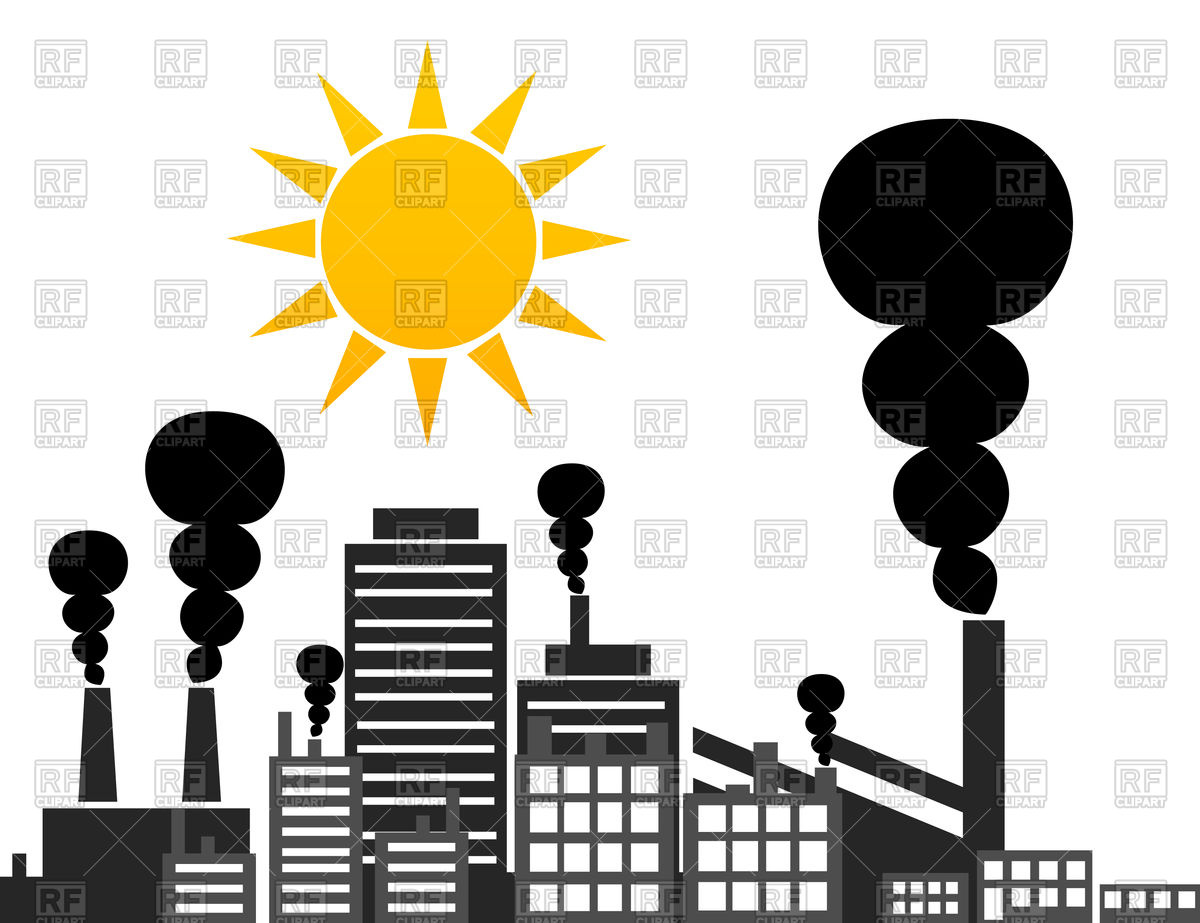 Sun rises over factory Vector Image #80826.