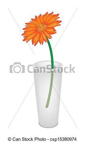 Vectors Illustration of A Lovely Fresh Daisy Flower in Glass Vase.