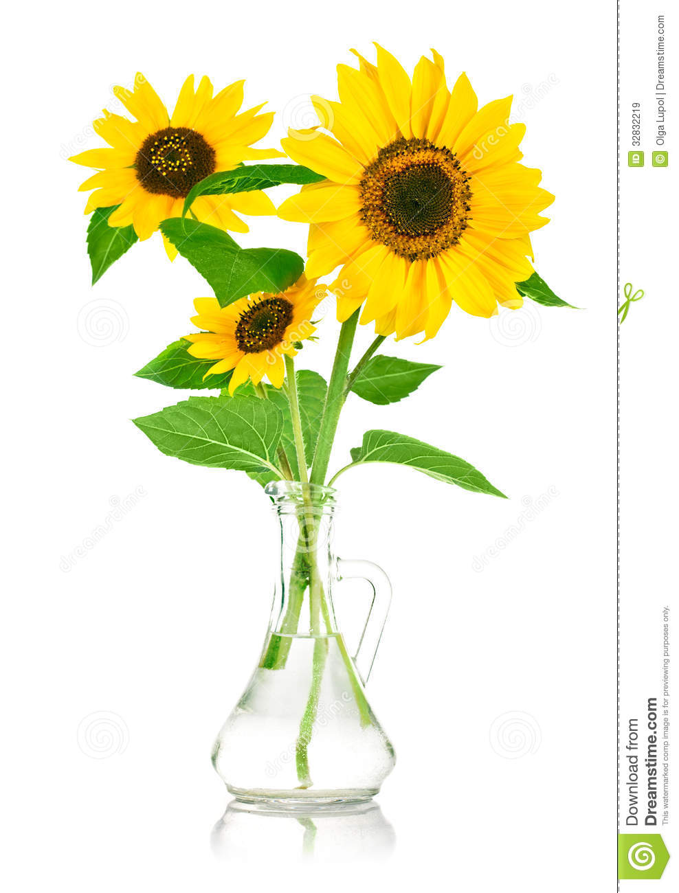 Vase with sun flowers clipart.