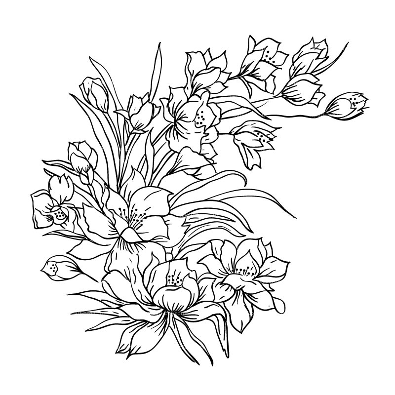 Glass Painting Flowers Clipart.