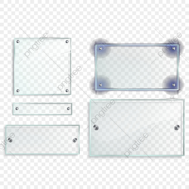 Vector Set Of Transparent Glass Plates Panels With Metal Access.