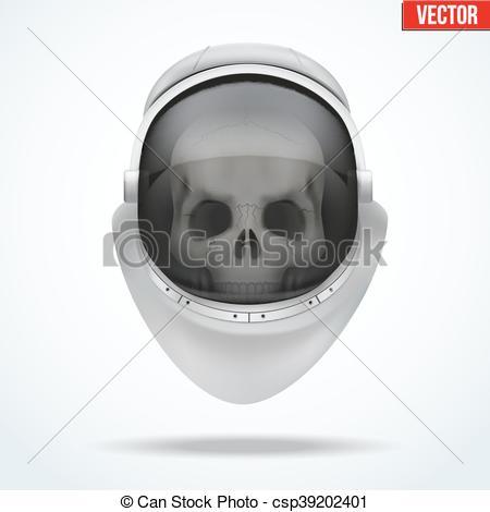 Vector Clipart of Astronaut space helmet with skull behind visor.