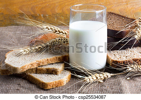 Pictures of Bread from rye and wheat flour of rough grinding and.
