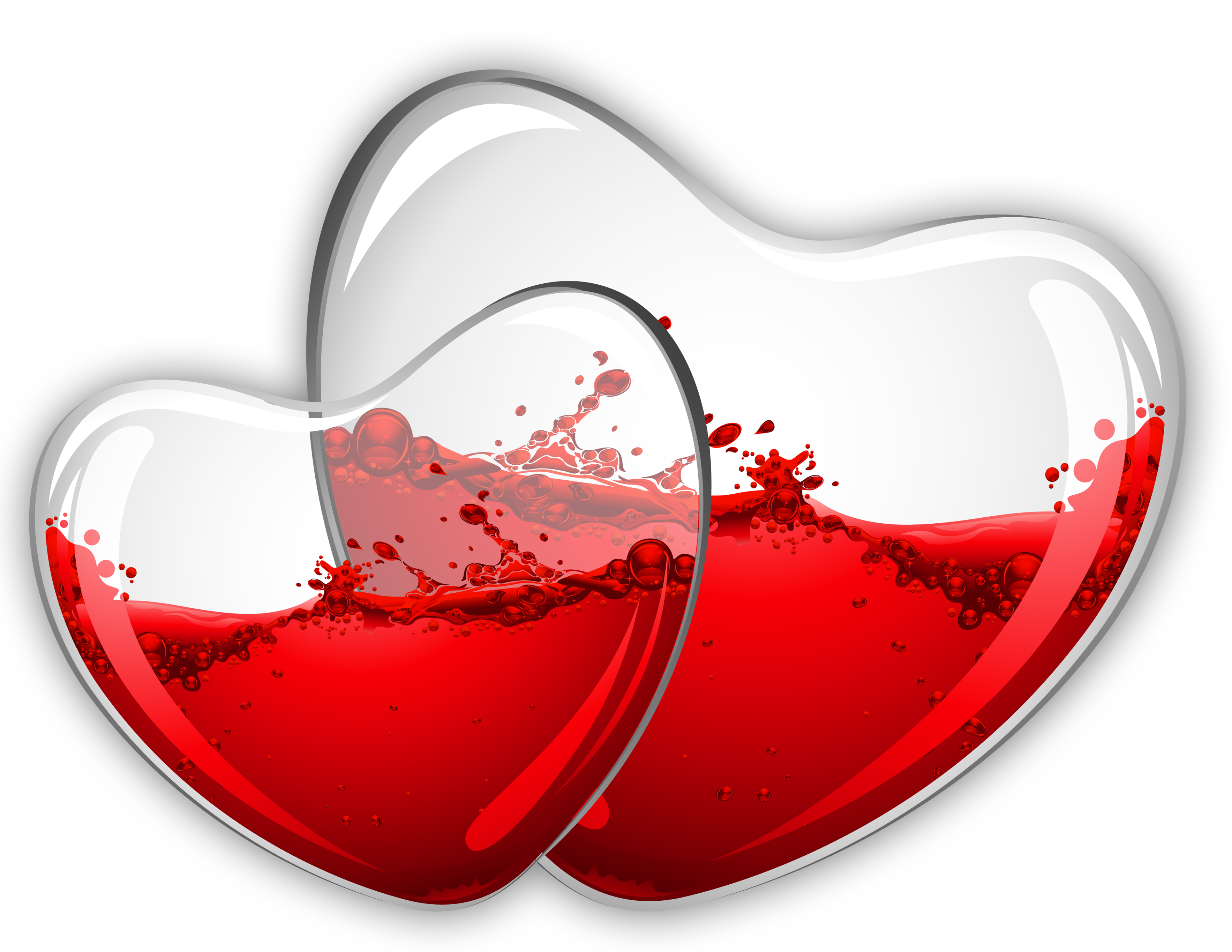 Glass Hearts with Red Wine PNG Clipart Picture.