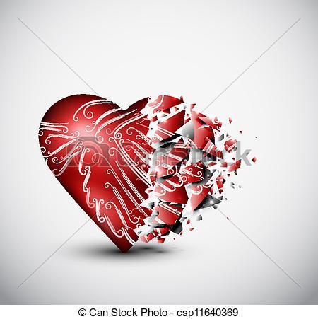 Clip Art Vector of Broken heart.