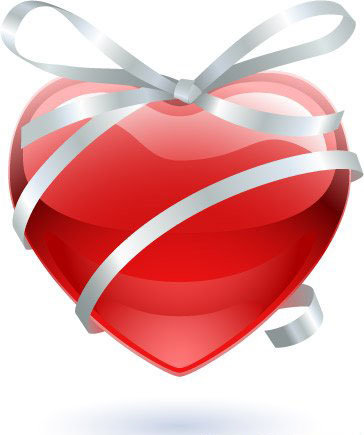 Glass heart with ribbon, Vector Image.