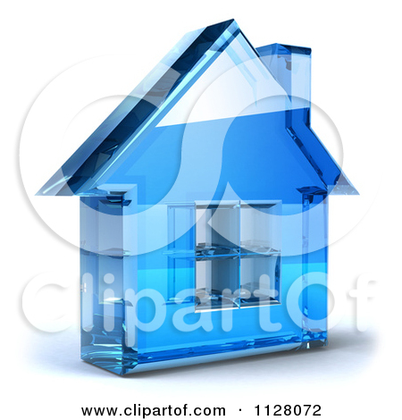 Clipart Of A 3d Blue Glass Home Page Icon.
