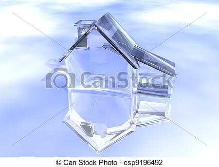 Clip Art of Luxury Clear Glass Diamond House Model on Blue.