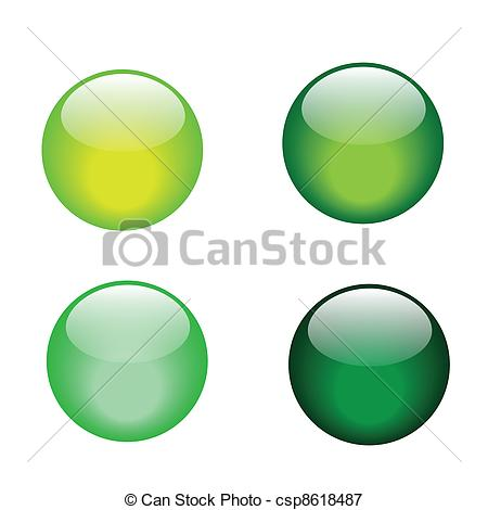 Vectors Illustration of green glass marble icons.