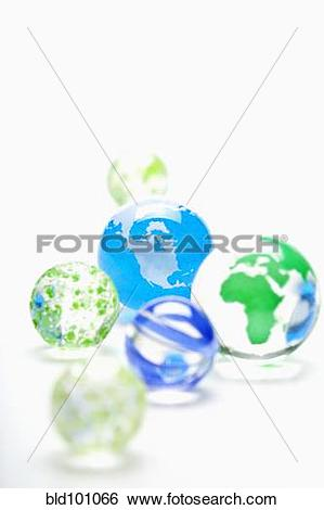 Stock Images of Glass marbles decorated as globes bld101066.