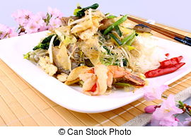 Stock Photo of Prawn in chopstick, asia glass noodles with.