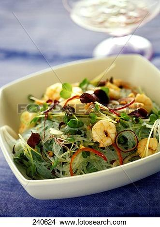 Stock Photo of Glass noodle salad with shrimps and cress 240624.