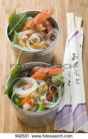 Stock Photography of Glass noodles with shrimps, lemon grass and.