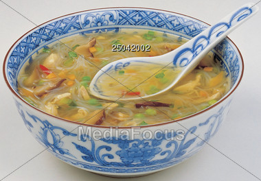 Stock Photo Glass Noodle Soup In Bowl Clipart.