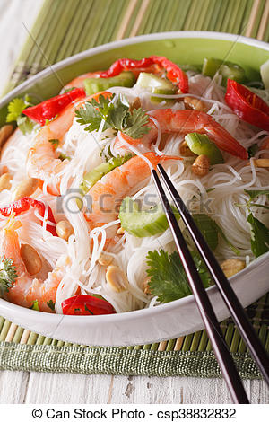 Stock Photos of Thai salad with glass noodles, prawns and peanuts.