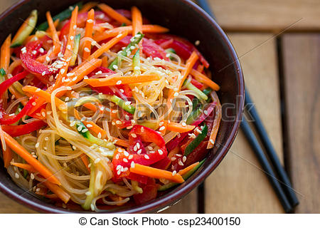 Stock Images of glass noodles with vegetables.