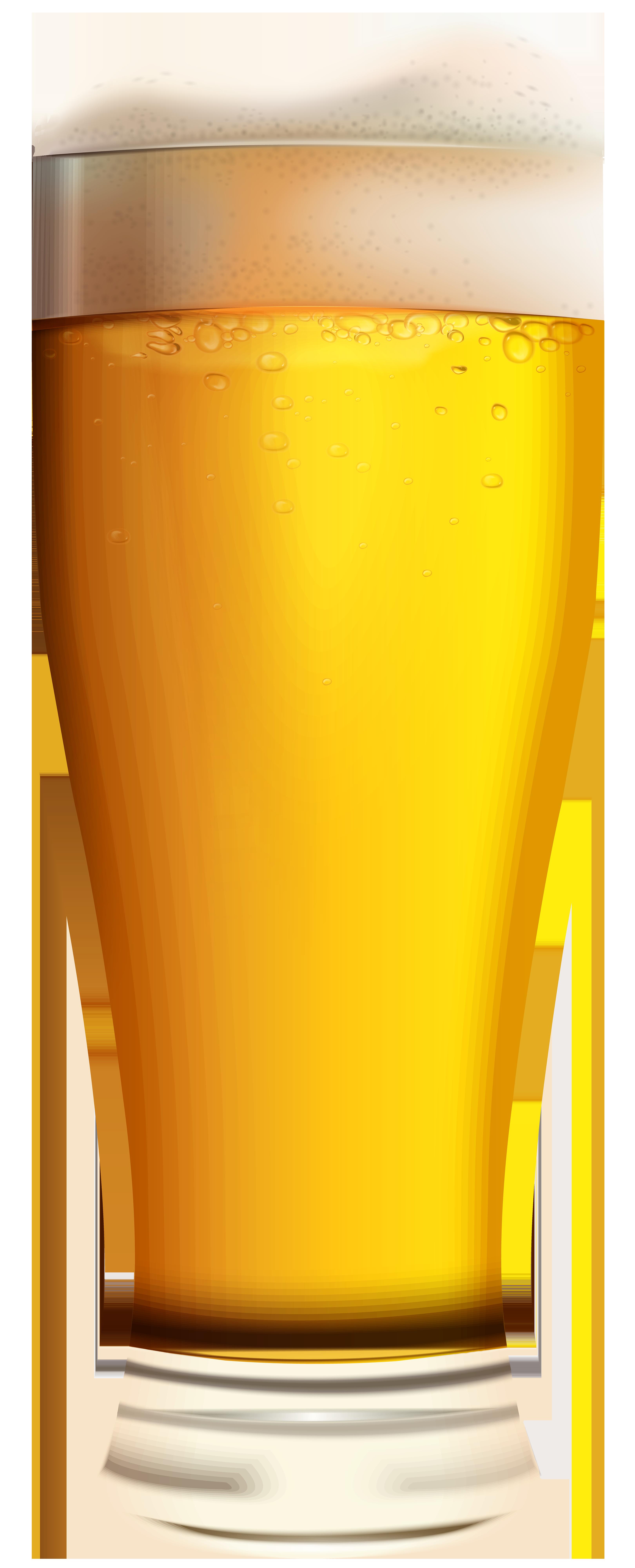 Glass of Light Beer PNG Clip Art Image.