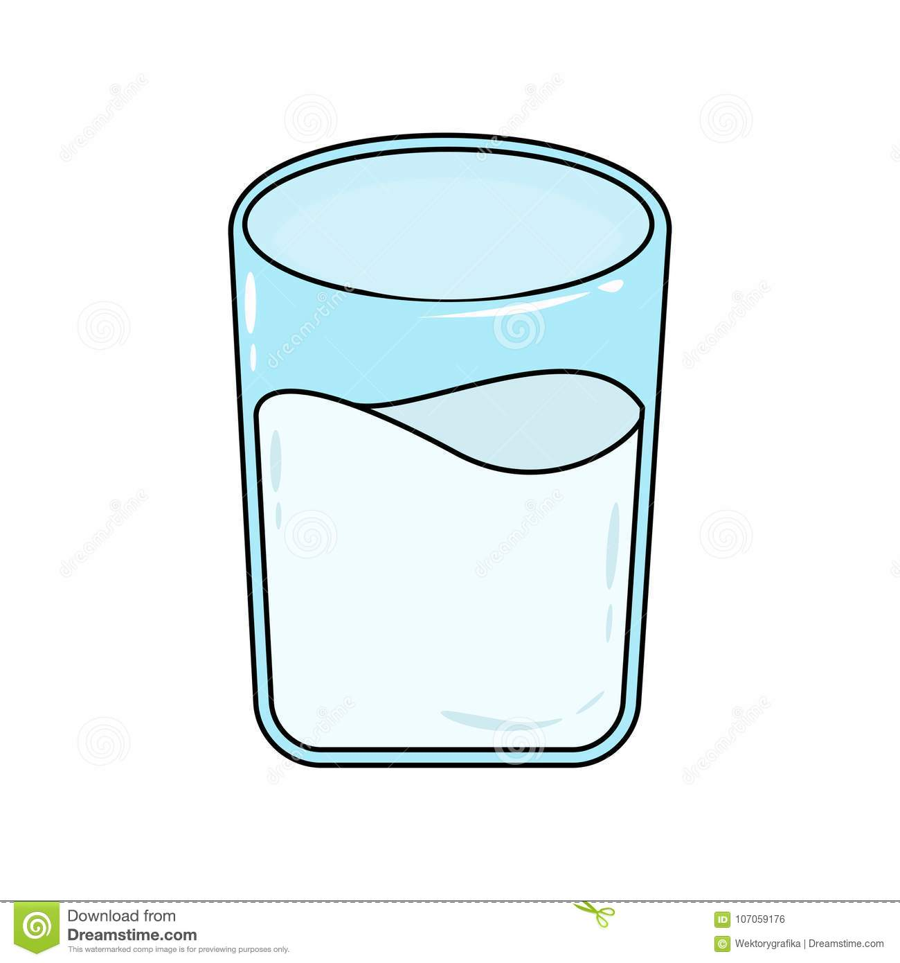 Glass Of Milk Cartoon Isolated On White Background Stock Vector.