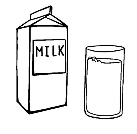 Glass Of Milk Clipart Black And White.