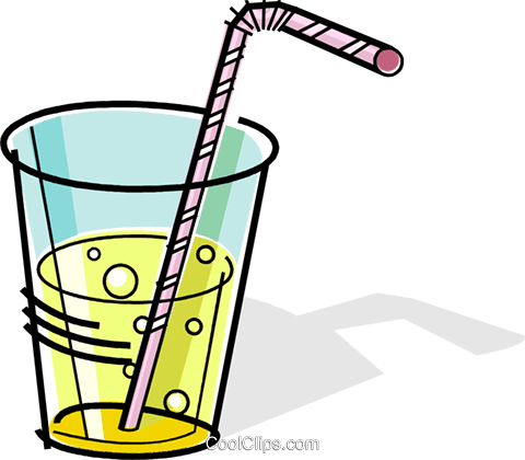 glass of soda with a straw Royalty Free Vector Clip Art.