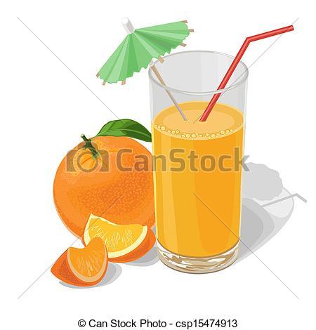 Vector Clip Art of orange and juice.