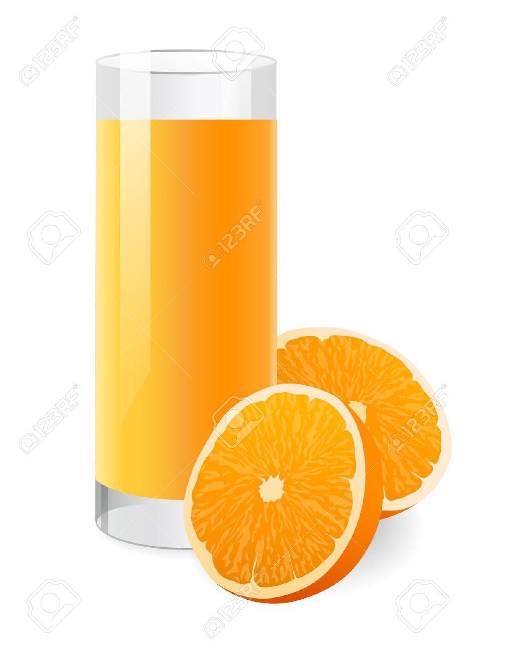 Fresh Orange Juice In Glass With Half Of Orange. Vector.