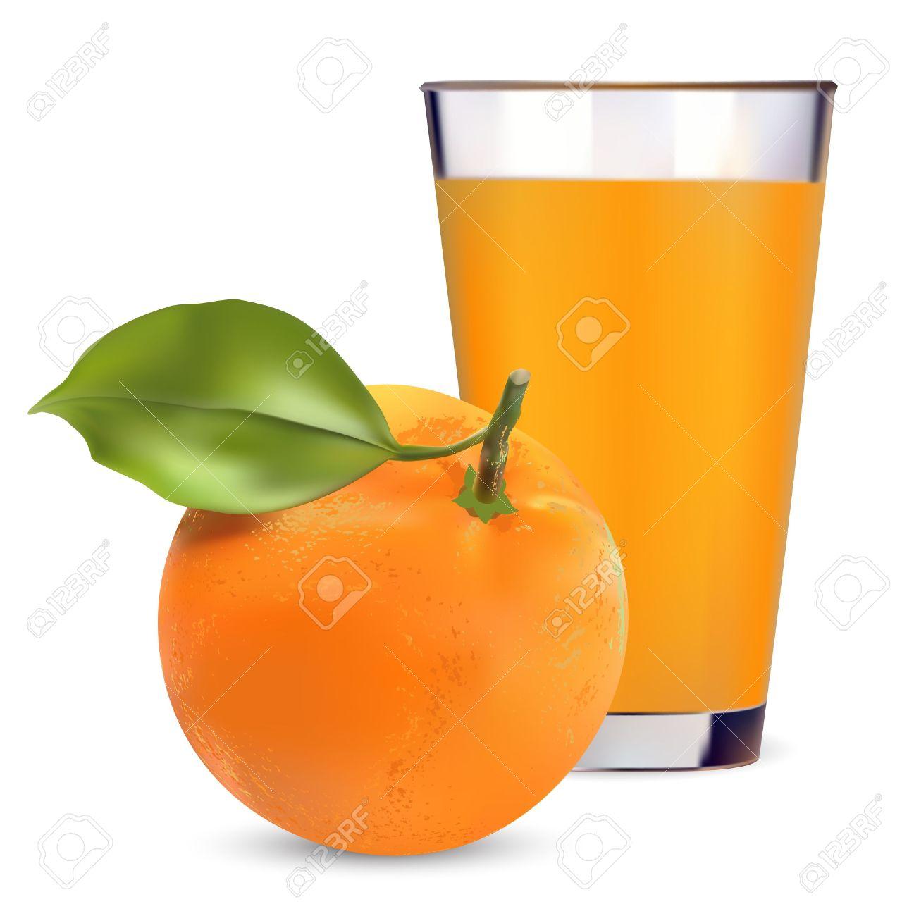 Oranges And Orange Juice On White Background Royalty Free Cliparts.