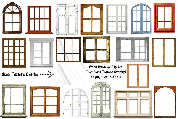 Wood Windows & Glass Overlay ClipArt by.