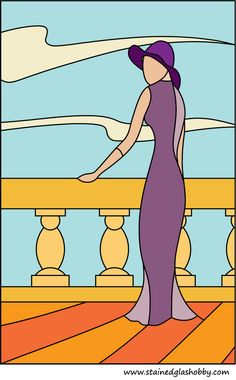 Lady in long dress stained glass pattern.