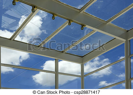 Stock Photography of Dirty Building Glass Panels.