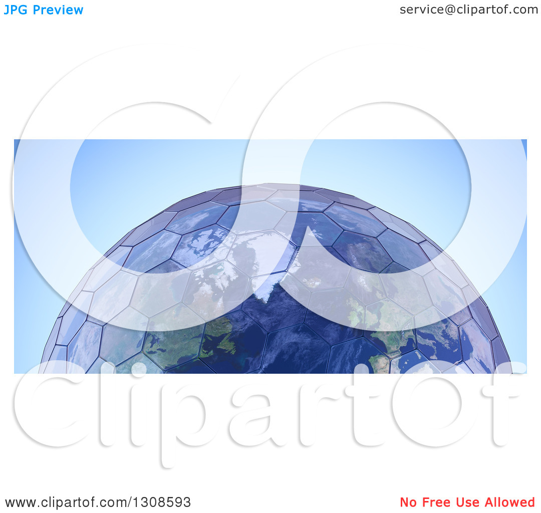 Clipart of a 3d Planet Earth with Hexagonal Green House Glass.
