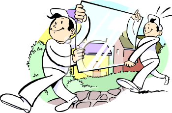 Men Moving a Pane Of Glass Clip Art.