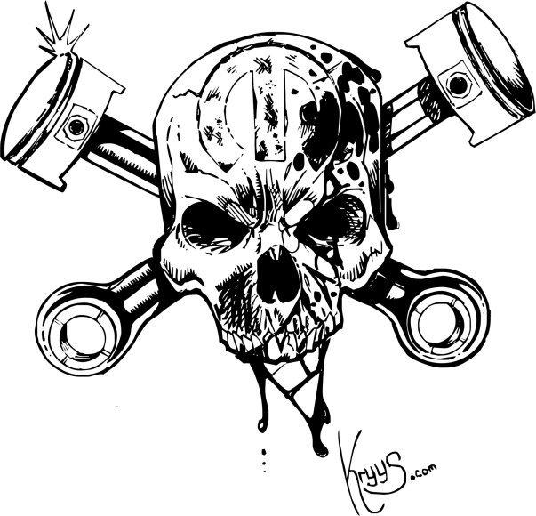 Skull and cross pistons by 76Bev.