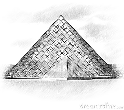 Louvre Glass Pyramid Building Stock Illustrations.