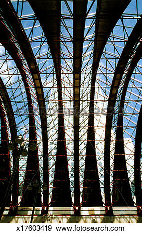 Stock Photograph of Steel and glass roof structure x17603419.