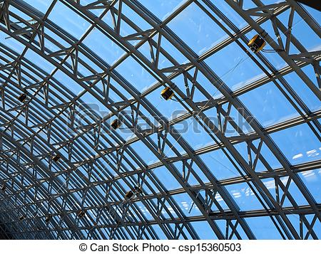Stock Photography of Structures of skylight glass roof window and.