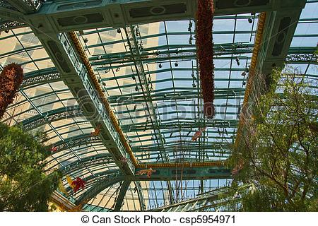 Stock Photography of Huge Greenhouse Roof.